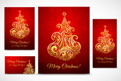 Set of Cristmas baner, cards and flyer. Isolated on background Stock Image