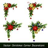 Set of Cristmas corner decorations. Isolated on white vector set Royalty Free Stock Photography