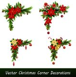 Set of Cristmas corner decorations. Isolated on white vector set Stock Photography