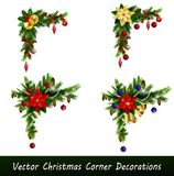 Set of Cristmas corner decorations. On white vector set Royalty Free Stock Photos
