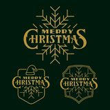 Set of cristmas logo, emblems and badges. Typography logo on dark background. Usable for banners, greeting cards, gifts etc Royalty Free Stock Image