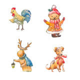 Set of cristmas watercolor animals. Dog, deer, bear, rooster. Funny illustrations Royalty Free Stock Photos
