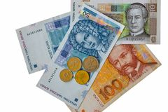 Set of Croatian currency banknotes and coins macro isolated Royalty Free Stock Photos