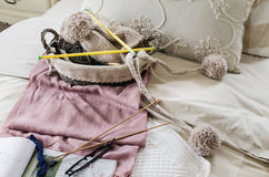 Set of crochet on bed Royalty Free Stock Image