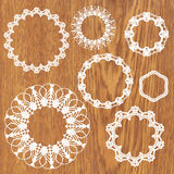 Set of crochet lacy frames. Royalty Free Stock Image