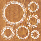 Set of crochet lacy frames. Royalty Free Stock Photos
