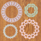 Set of crochet lacy frames. Royalty Free Stock Photo