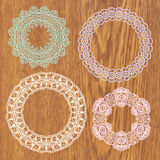 Set of crochet lacy frames. Stock Photography