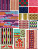 Set crocheted backgrounds. Traditional style. Stock Photo