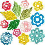 Set of crocheted flowers and leaves in the style of Irish lace. Elements on a white background Royalty Free Stock Photos