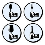 Set crockery and cutlery. Set of crockery and cutlery in hand. Vector hands with fork, spoon, glass, bottle. Retro styled  icons Stock Photography