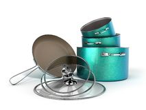 Set of crockery green pots and frying pan with stone sprayed 3d royalty free illustration
