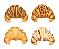 Set of croissan with different fillings cream chocolate and sesame on top vector illustration isolated on white background.  Stock Photo