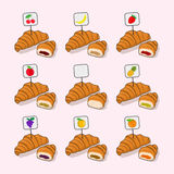 Set croissant and half a croissant with different fillings insid Stock Image
