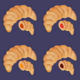 A set of croissants with different stuffing. Such as orange, pink, yellow, brown at the blue background Royalty Free Stock Photos