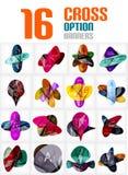Set of cross abstract geometric shape infographics Stock Photos