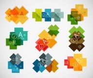 Set of cross infographic paper templates Stock Photos