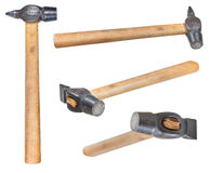 Set of Cross Peen Hammers with round face isolated Stock Photography