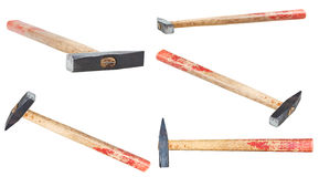 Set Cross Peen Hammers with square face isolated Stock Images