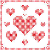 Set of cross stitch embroidery hearts. Royalty Free Stock Photos