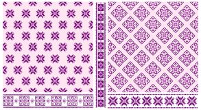 Set of cross stitched patterns and borders. Set of 2 purple and violet cross stitched seamless patterns and 3 scalloped borders vector illustration