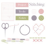 Set of Cross Stitching Materials with Planner Elements Stock Photo