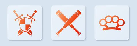 Set Crossed baseball bat, Medieval shield with crossed swords and Brass knuckles. White square button. Vector.