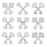 Set of crossed keys design elements vector Stock Images