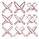 Set of crossed kitchen knives vector Royalty Free Stock Photo
