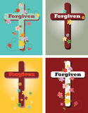 Floral set of crosses, Forgiven. A set of crosses with inspirational message Stock Images