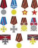 Set of crosses and medals Royalty Free Stock Photo
