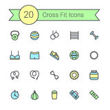 Set of crossfit gym equipment color line icons of dumbbells, fitball, protein, stopwatch, punching bag, workout clothes Stock Image