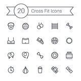 Set of crossfit gym equipment line icons of dumbbells, fitball, protein, stopwatch, punching bag, workout clothes and Royalty Free Stock Images