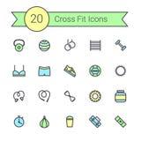Set crossfit gym wyposażenia koloru linii ikony dumbbells, fitball, proteina, stopwatch, uderza pięścią torbę, trening odziewa Obraz Stock