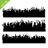 Crowd concert silhouettes vector. Set of crowd concert silhouettes vector Royalty Free Stock Photo