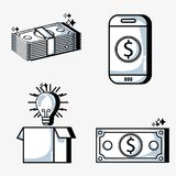 Set crowdfunding business money financing. Vector illustration Royalty Free Stock Images