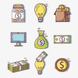 Set crowdfunding business money financing. Vector illustration Royalty Free Stock Photo