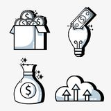 Set crowdfunding business money financing. Vector illustration Royalty Free Stock Photos