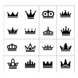 Set of crown icons. Isolated on white stock illustration