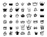 Set of Crown logo graffiti icon. Drawing by hand black elements. Vector illustration. Isolated on white background royalty free illustration