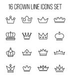 Set of crown in modern thin line style. Stock Photos