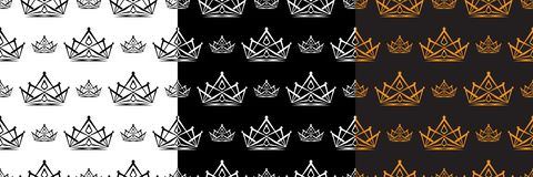 Set of crown vector seamless pattern for background and wallpaper. Crowns King and Princess. Vector illustration EPS.8 EPS.10 Vector Illustration