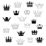 Set of Crowns. Set of black ornament crowns Royalty Free Stock Photography