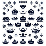 Set of crowns and decorative elements Stock Image