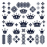 Set of crowns and decorative elements Royalty Free Stock Photo