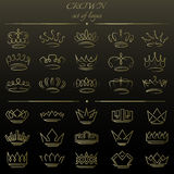 Set of crowns in different styles. Royalty Free Stock Photography