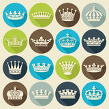 Set of crowns flat icons Royalty Free Stock Photos
