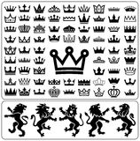 Set of crowns and lion rampant. Heraldry elements design collection. Vector illustration Royalty Free Stock Photo
