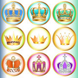 Set of crowns with precious stones Royalty Free Stock Photos