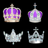 Set of crowns with precious stones and pearls Royalty Free Stock Image